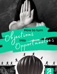 How to Turn Objections into Opportunities: Woman standing with her hand up indicating stop. Bottom half men and women running over a hot air balloon to the other side of a path.