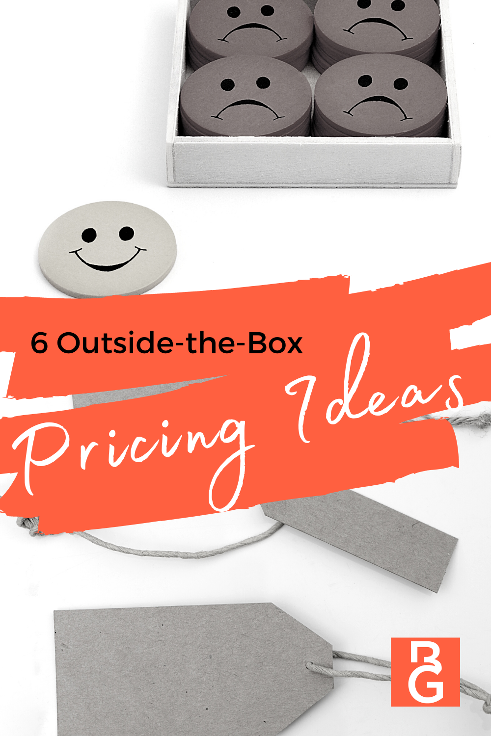 Four happy faces in a box with sad faces, one happy face outside of the box with a smiley face.