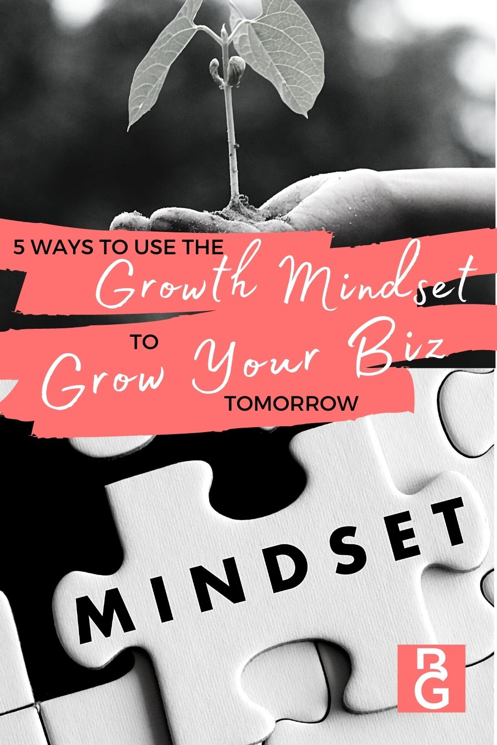 5 Ways To Use The Growth Mindset To Scale Your Biz. Plant growing and puzzle pieces.