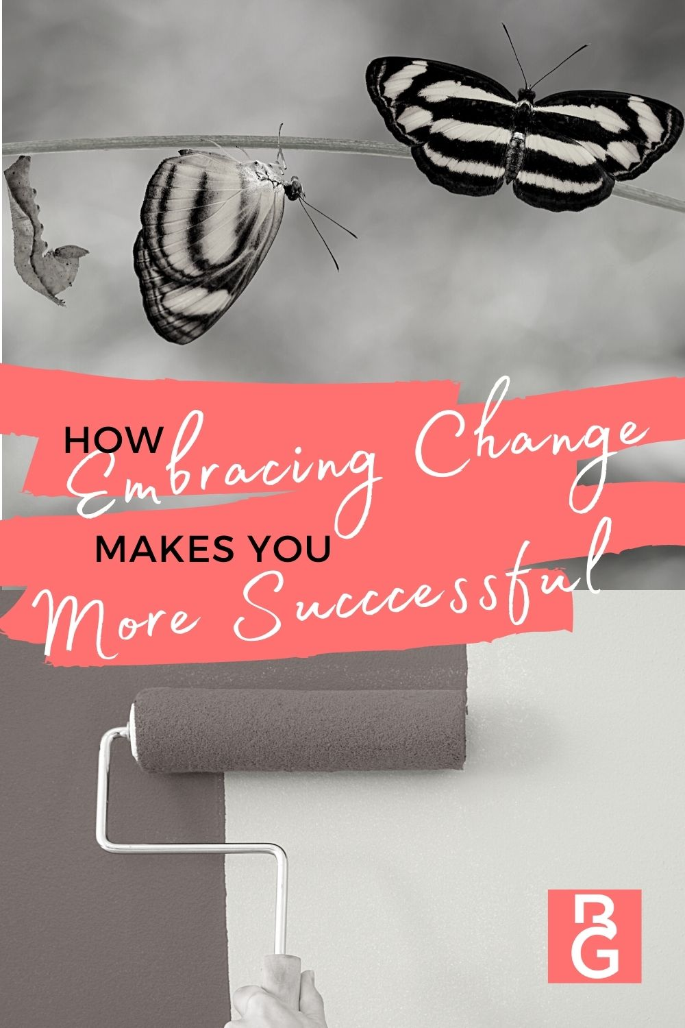 How Embracing Change Makes You More Successful. Image of caterpillar and butterflies.
