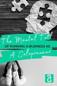 The mental toll of running a business as a solopreneur a crumpled piece of paper in the shape of a head with a piece of a puzzle taken out. And a woman with both of her hands covering her face.